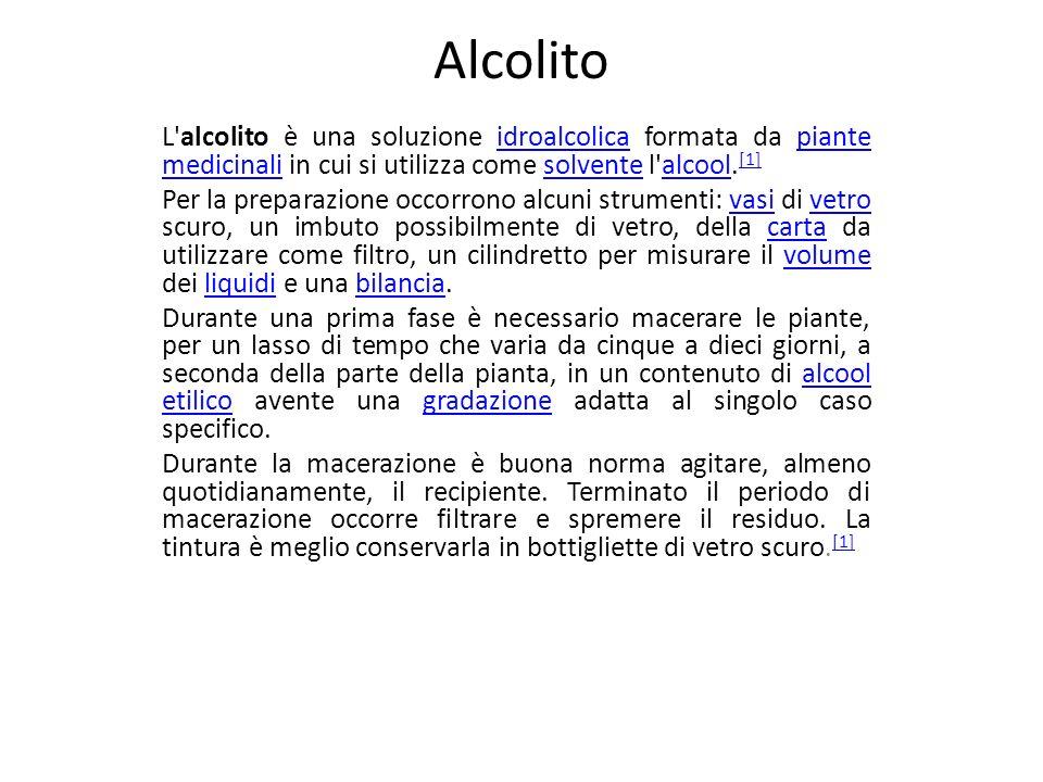 Alcolito L alcolito è una soluzione idroalcolica formata da piante medicinali in cui si utilizza come solvente l alcool.[1]